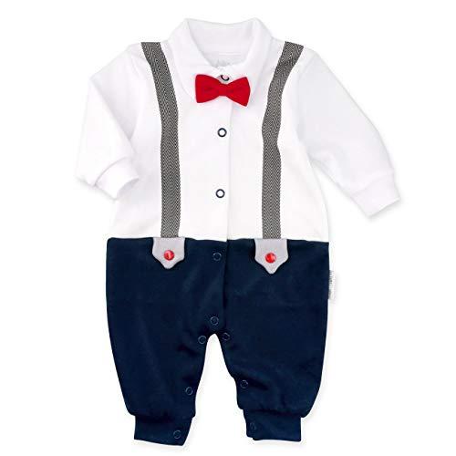 Baby Sweets Strampler weiß blau | Motiv: Little Gentleman | Festliches Baby Outfit für Neugeborene & Kleinkinder | Größe: Newborn (56)