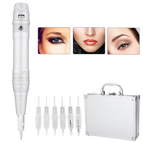 Yotown Stylo permanent de sourcil de tatouage de Digital, lèvres permanentes de tatouage de beauté de sourcil Eyeliner Le stylo de maquillage de sourcil avec 6 aiguilles ne saignent pas(EU)