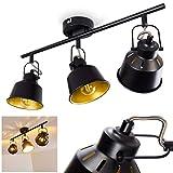 Lámpara de techo Safari, de metal en negro/oro, 3 x E14, máx 40 vatios, regulable en diseño retro/vintage, adecuada para bombillas LED, ideal para salón