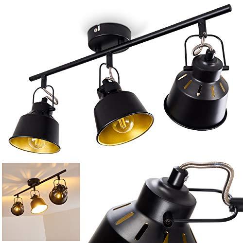 Plafondlamp Safari, metalen plafondlamp in zwart/goud, 3 vlammen, met verstelbare spots, 3 x E14 stopcontact, max. 40 Watt, spot in retro/vintage uitvoering, geschikt voor LED-lampen