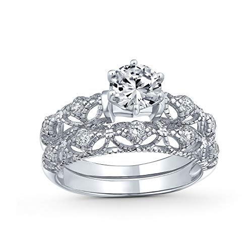 Bling Jewelry Antiguo 1Ct Redondo Solitario Milgrain AAA CZ Compromiso Banda Boda Juego De Anillo De Plata Esterlina 925 para Mujer
