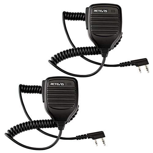 Retevis Funkgerät Lautsprecher Mikrofon 2 Pin Funkgeräte Profi Lautsprechermikrofon Kompatibel mit Baofeng UV-5R eSynic Proster Nestling RT24 RT24V RT27 Baofeng BF-88E BF-888S Tyhbelle (2 STK.)