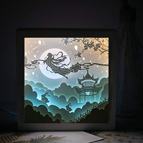 QCKDQ lamp sculptuur papier 3D nachtlicht lamp licht creatief schilderij schaduw lamp nachtlicht papier Light Box voor thuis slaapkamer 's nachts