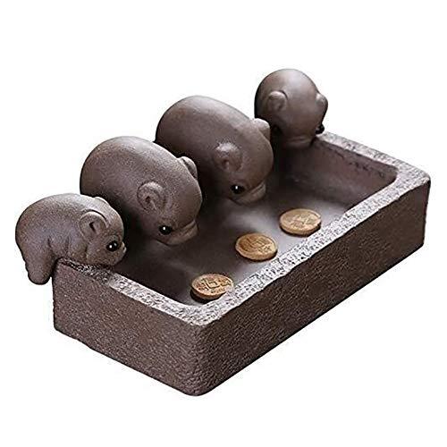 LIUCHUNYANSH Gartenskulptur Wohnaccessoires Wohnzimmer-Dekoration Frauen Ornamente, Tradition Yixing Tee Pet Pigs Gepflegte Vier Ferkel Trough Skulptur