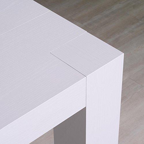 icreo Table console extensible, modèle Venere, finition blanc frêne 46/306 x 90 cm, hauteur 75 cm, en mélaminé de qualité avec 5 rallonges de 52 cm. Produit entièrement italien de Design