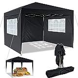 Pavillon 3x3m/3x6m Wasserdicht Zelt Partyzelt Faltpavillon Gartenzelt für Garten Markt Camping Hochzeiten Festival mit 4 Seitenteilen UV-Schutz 50+ (Schwarz, 3x3m)