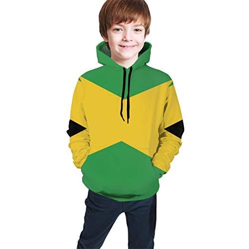 NHJYU Pullover Jamaica Flag Teen Hooded Sweatshirt Pullover Drawstring Pocket Novelty Coat for Children