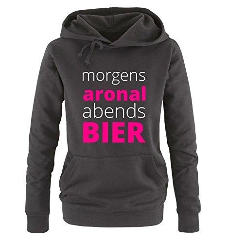 Comedy Shirts Morgen ARONAL ABENDS Bier - Damen Hoodie - Schwarz/Weiss-Pink Gr. M