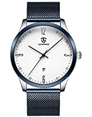 腕時計 メンズ シンプル ビジネス ファッション 日付表示 ブルー ホワイト高品質 防水 カジュアル アナログ クォーツ時計 メッシュバンド …