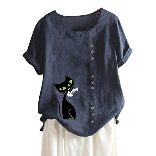 MOTOCO Damen Übergröße Kurzarm T-Shirt Top Lässig O Ausschnitt Mit Knopf Mode Tier Druck Lose Tees(3XL,Blau-1)