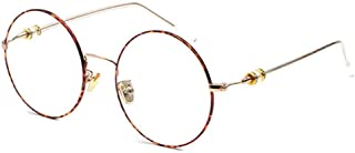 Inlefen Unisex Vintage Round Frame Fashion Transparent Lens for Men women