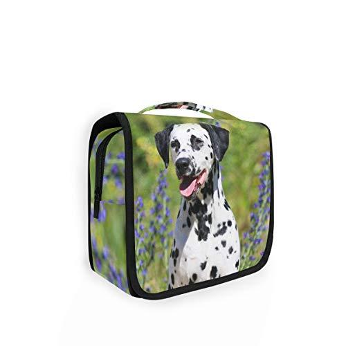 Rulyy Trousse de toilette à suspendre pour chien, lavande dalmatienne, grande capacité, organiseur de voyage, trousse de maquillage, sac portable pour filles, femmes
