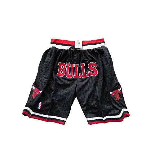 ccaat Herren Bulls Shorts Mesh Basketball Retro Chicago Bulls Swingman Sports Shorts M-XXL (M, Bulls-Black)