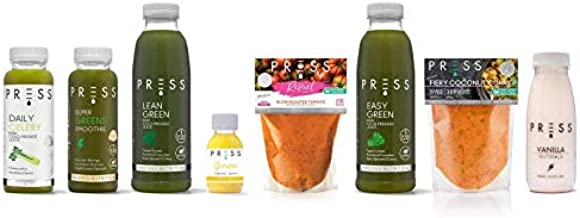 Press London- 7 Day Reset Juice Cleanse- Meal Replacement for Weight Loss Diet- Celery Green Apple Juice Soup Smoothie Ginger Shot Low carb Fat Burners for Women and Men Estimated Price : £ 279,99
