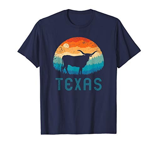 Texas Longhorn Cow Vintage Texan Cattle Herd Retro Lone Star T-Shirt