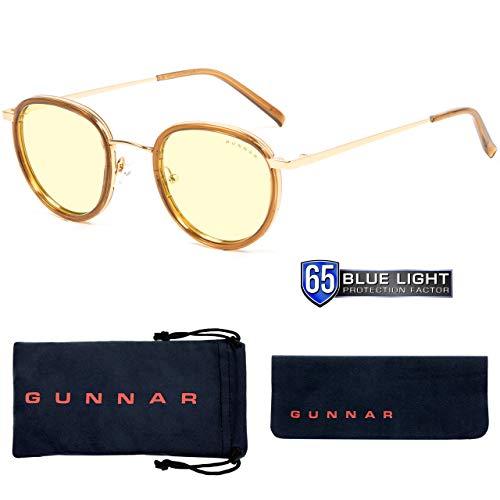 GUNNAR Gaming and Computer Eyewear/Atherton, Amber Tint - Patented Lens, Reduce Digital Eye Strain, Block 65% of Harmful Blue Light (Onyx Frame, Amber Lens) - PC; Mac; Linux