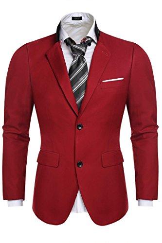 COOFANDY Blazer Hombre Business Traje de Novios Formal Talla Grande Rojo XXL