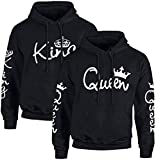 Couple Camp King Queen Hoodie Pullover Set für Pärchen (King Herren, Schwarz XXL)