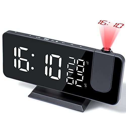 Projektionswecker Digital Radiowecker Wecker mit 180 ° Projektion - Radiowecker mit USB-Anschluss,3 stufige Helligkeit,Snooze Dual-Alarm und 15 Lautstärkestufen,für Schlafzimmer,Wohnzimmer,usw