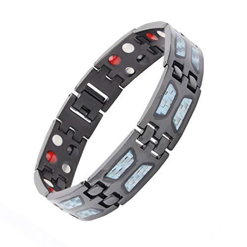 Shoguu Pulsera Magnética de Fibra de Carbono para Hombres, Pulsera de Titanio Puro de 4 Elementos de Terapia Energética para el Alivio del Dolor de la Artritis Azul Negro