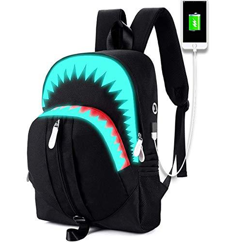Shark backpack Lightweight Daypack Travel Rucksack with USB Charging Laptop bag College backpack