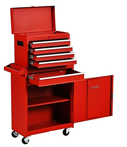 Tool Chest With Wheels 5-Drawer & Removable Tool Box With Locks,Tool Boxes Large Capacity Garage Rolling Tool Storage Cabinet For Mechanics (Red)