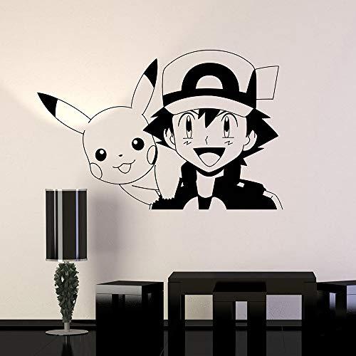 Pokemon Anime Manga Decalcomania da muro in vinile Cartoon Decorazioni per la casa Camera da letto Camera da letto Arte murale Adesivi 84 cm x 57 cm
