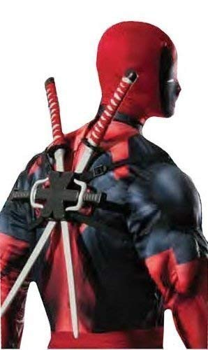 Fancy Me Herren Jungen Offiziell Marvel Deadpool Doppel Ninja Schwert Rucksack Kostüm Kleid Outfit Waffen Set