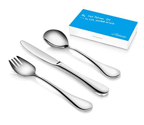 Artaste 56532 Rain 18/10 Stainless Steel 12-Piece Kids Flatware Set, Service for 4
