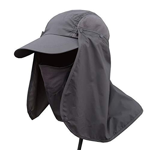 Lurowo Sonnenhut 360 ° UV Schutz Sonnenmütze Hut mit Nackenschutz,Baseball Kappe Fischerhut Unisex Faltbar Atmungsaktiv Wanderhut (Dunkelgrau)