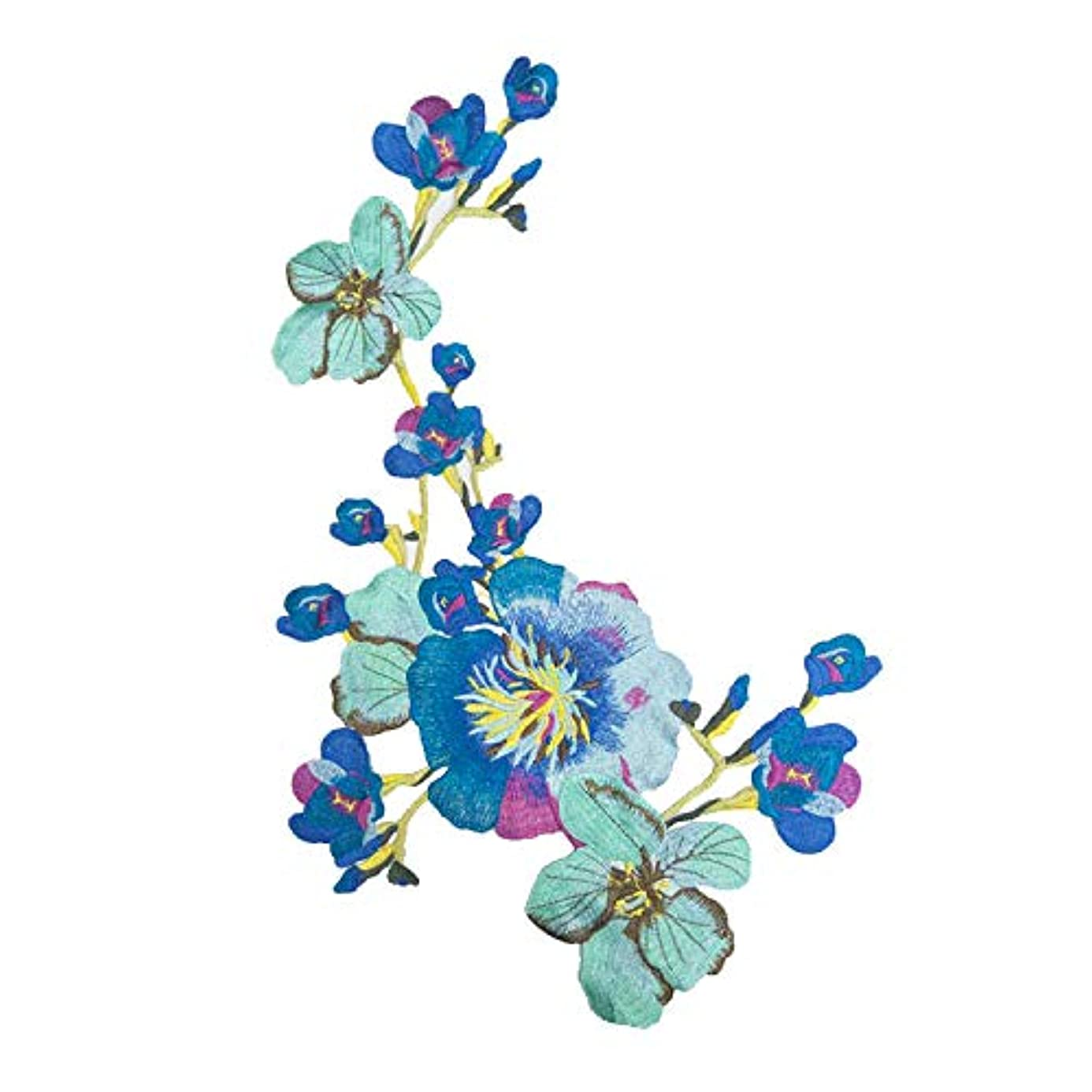 1pcs Blue Flower Embroideried Patch Fabric National Trend Applique Sew Clothes Accessories xbn0261954