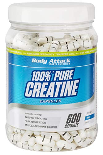 Body Attack 100{9b2c5dc08a2faebd47cdb9b5cd5d9c48e1fa0dda5379c2aecaa088a00752c810} Pure Creatine - 600 Kapseln, hochwertiges mikrofeines Kreatin Monohydrat für Muskelwachstum, Kraft und Ausdauer, Produkt der Kölner Liste, hochdosiert mit 5620mg, Made in Germany