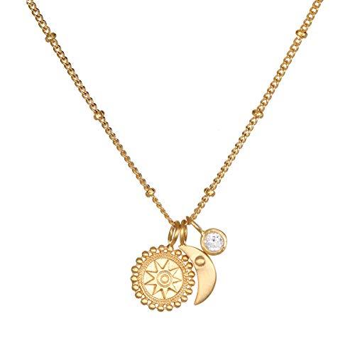 Satya Jewelry Kette Damen Gold - mit 3 Anhängern Mandala, Mond und Weißer Topas - Silber 925 Vergoldet - NG3-52-L18