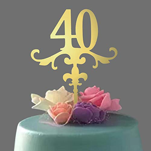 Acrylic Cake Topper, Mirror Gold Number 40 Cake Topper, Ideal for 40th Birthday or Anniversary Celebration