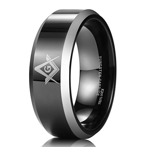 King Will 8mm negro anillo de carburo de tungsteno para hombre pulido masónico brújula cuadrado libre Mason