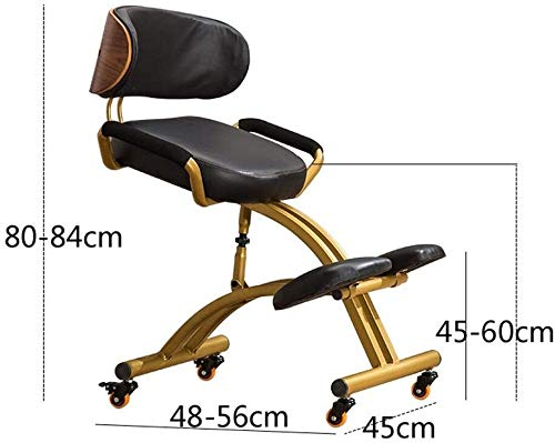 Kneeling Chair ZHJING Ergonomic Computer Chair Family Office Chair Ergonomic Orthopedic Stool Leather Seat Height-adjustable Stool With Backrest And Handle