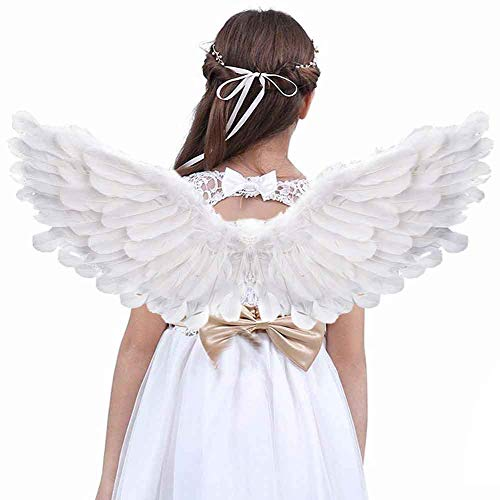 Angel Wings and Halo Kids Angel Feather Wings White Children's Adult Halloween Unique Gift Christmas (Angel Wings and Halo)