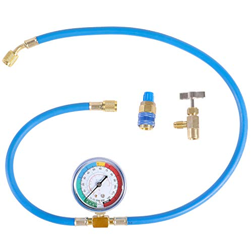 JIFETOR AC Charge Hose with Gauge for R134A R12...