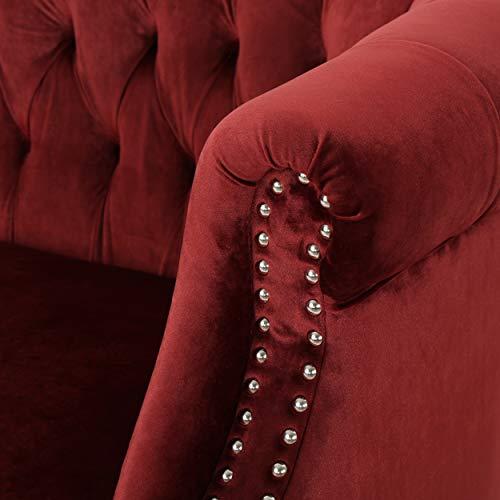 Christopher Knight Home 302214 Melaina Garnet Tufted Rolled Arm Velvet Chesterfield Loveseat Couch