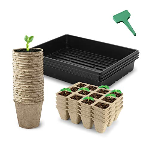 CEED4U Seed Starter Kit, 2.4 Inches Peat Pots, 48 Cells Peat Trays, 15x11 Inches Growing Trays, 15 Packs Plant Labels, Plant Cultivation Set for Gardeners, Classrooms, Greenhouse, DIY Projects