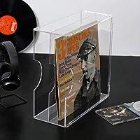 二重透明LP収納ラック、コーヒーショップシネマレストランアクリルDVDディスプレイスタンド-約30枚のビニールレコードを収納(カラー:クリア、サイズ:35 * 15.5 * 35cm)