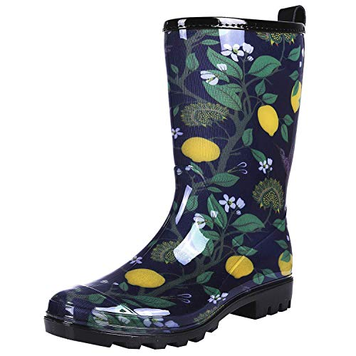 Colorxy Women's Waterproof Garden Rain Boots - Colorful Floral Printed Mid-Calf Garden Shoe Classic Short Wellies Rainboots (Hummingbird Lemon Blue, Size 10)