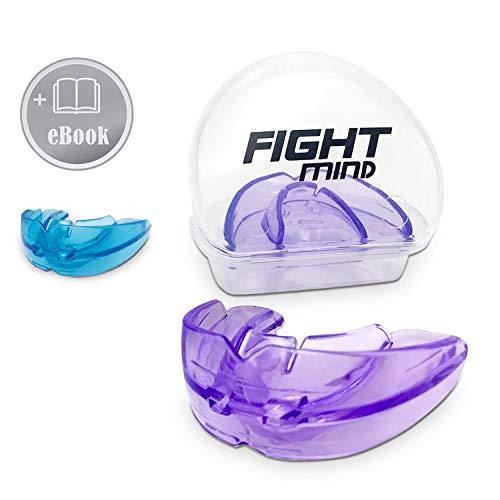 Fight Mind Zahnschutz | Mundschutz für Zahnspangenträger | Schützt Ober,- und Unterkiefer | 100% medizinisches Silikon | + Ebook + Zufriedenheitsgarantie | (Lila)