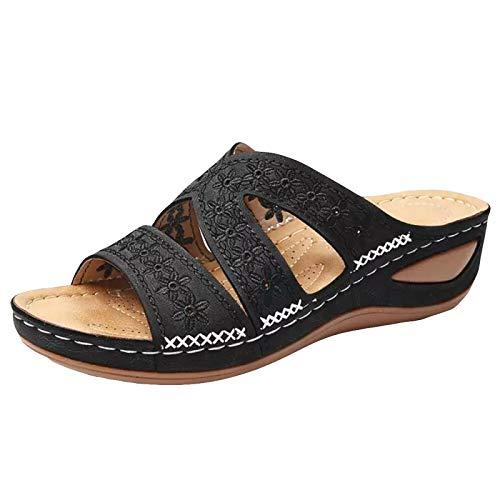 RXLLDOLY Pantoffeln Damen Sandalen Slippers Schuhe Bequeme Orthopädische Pantolette Hausschuhe rutschfest Sommer Aushöhlen Blumen Sandaletten Casual Slingback Open Toe Schuhe(Schwarz,38 EU)