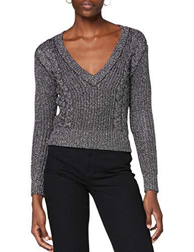 Ivy Revel DE Cropped Metallic Knit suéter, Plateado (Silver 40), XX-Small para Mujer