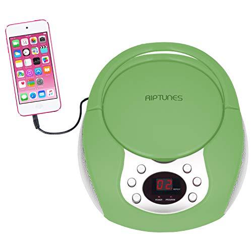 RipTunes CD player portátil com AM FM Radio potável rádios Boom Box com Aux Line-in, Verde