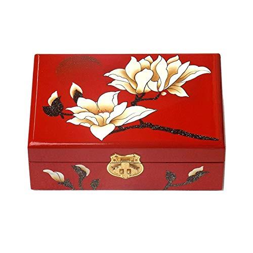 XBSXP Caja de Almacenamiento de joyería Vintage, Caja de Madera Hecha a Mano, con Cerradura de Metal, Caja de Almacenamiento para Necesidades diarias, Adecuada para Pendientes, Collar, a