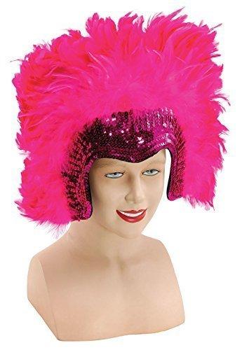 Fancy Me Donna 1920s Maschietta Showgirl Drag Queen Moulin Rouge Paillettes L Copricapo di Piume Costume Travestimento Accessorio - Rosa