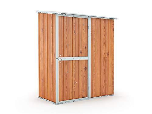 Notek Box in Acciaio Zincato Casetta da Giardino in Lamiera 1.55 x 1.00 m x h1.92 m - 50 kg – 1,55 Metri Quadri (Finitura Legno)