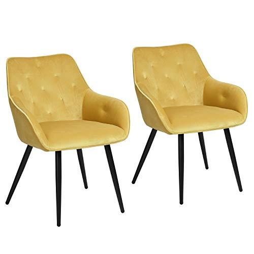 MEUBLE COSY Mueble – Juego de 2 sillas de comedor escandinavas de terciopelo amarillo, silla de salón de diseño con reposabrazos, acero inoxidable, 56 x 59 x 75 cm